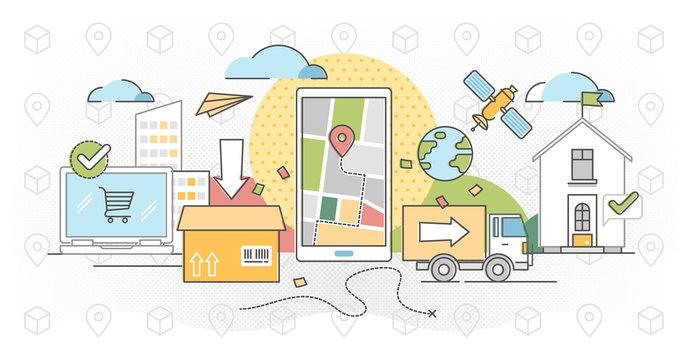 Order tracking outline concept vector illustration