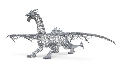 Big dragon stands on the ground. Three-dimensional illustration of the polygonal mesh on a white background. 3d illustration.