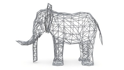 Elephant on a white background. Low polygon 3d illustration.