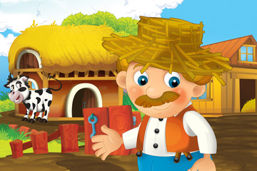 cartoon scene with happy man working on the farm - standing and smiling illustration for children