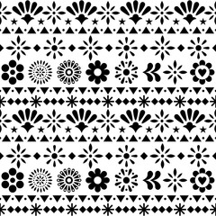 Mexican seamless vector pattern with flowers and abstract shapes - floral, happy textile black and white design