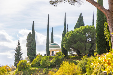 Mirador, historic viewpoint and symbol of Botanical Garden (Jardin Botanico La Concepcion) in Malaga. One of the few gardens with subtropical climate plants that exist in Europe