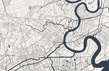 map of the city of Ho Chi Minh City, Vietnam