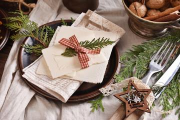 Christmas Eve wafer on festive table