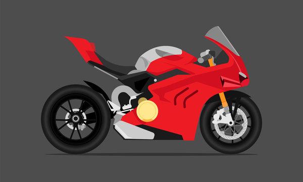 big bike motor fast speed modern sytle red gray color. vector illustration eps10