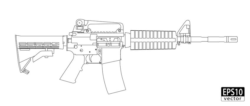 Assault Gun Wireframe (orthographic side view) | EPS10 Vector