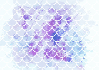 Pink-blue mermaid scales. Watercolor fish scales. Underwater sea pattern. Vector illustration. Perfect for print design for textile, poster, greeting card, invitation.