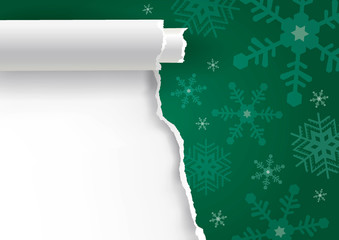 Christmas ripped paper green background with snowflakes.  Illustration of red torn paper background with place for your text or image. Vector available.