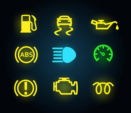 Set of yellow and green light car dashboard panel indicators, icons isolated, petrol, oil, engine, abs, brake, vector illustration