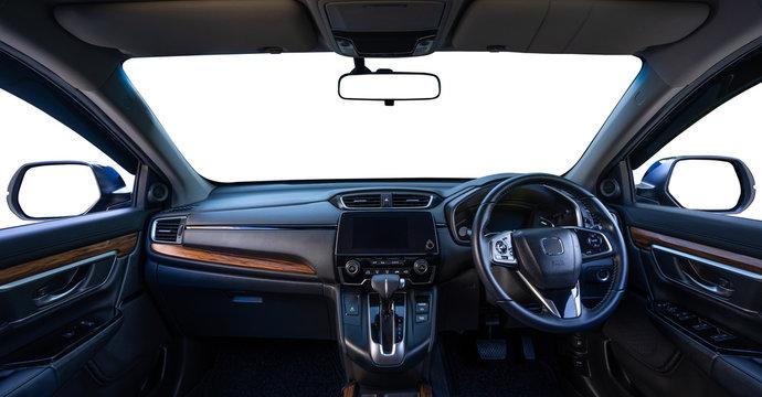 Car inside isolated on white background.