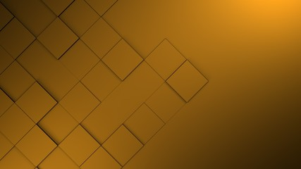 Wall Mural - orange blank geometric cubes abstract background. 3d illustration, 3d rendering.
