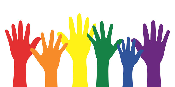 Silhouette of rainbow colored hands. LGBT concept.
