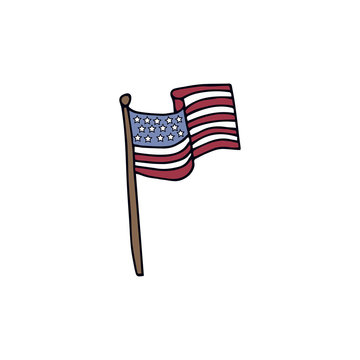 Flag of the United States of America.Hand drawn vector illustration on  white background.