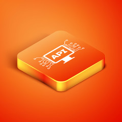 Isometric Computer api interface icon isolated on orange background. Application programming interface API technology. Software integration. Vector Illustration
