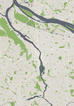 map of the city of Portland, Oregon, USA