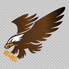 Flying eagle mascot on transparent background. Vector