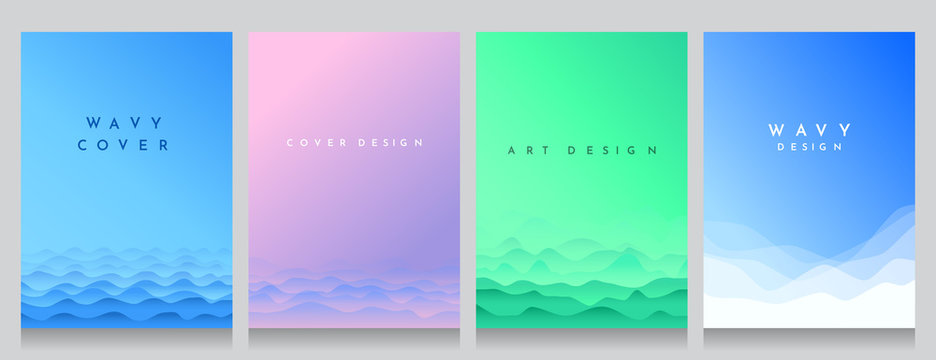 Abstract wavy backgrounds set. Gradient color wave. Hills or water abstract concept. Cover design. Water blue, violet, eco green and winter white graphic templates. Flat style. Minimalist wallpaper