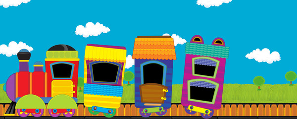 cartoon funny looking steam train going through the meadow with nobody on the stage - illustration for children