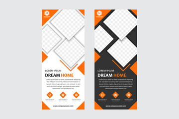 Set of orange square Business Roll Up Banner flat design template ,Abstract Geometric background. white and black background. space for photo.