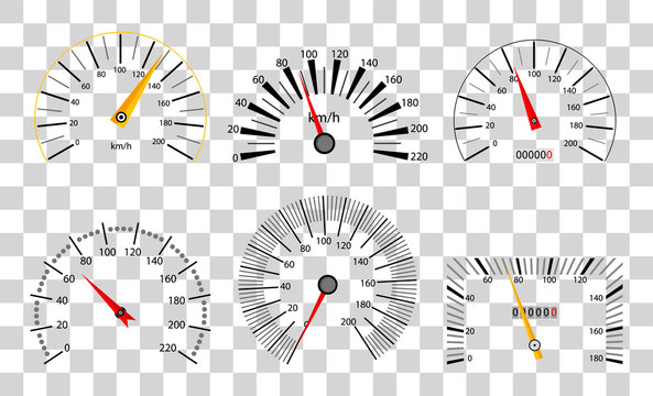 Speedometer and tachometer scales.