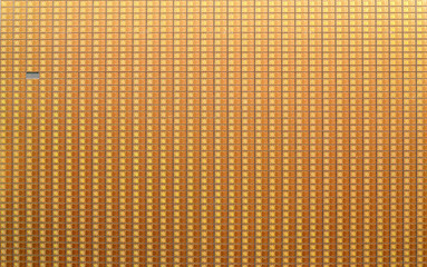 Silicon wafer with printet electronic circuits, one is missing