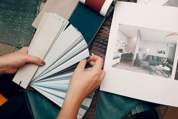 Obraz Interior design concept. Designer and project. - fototapety do salonu