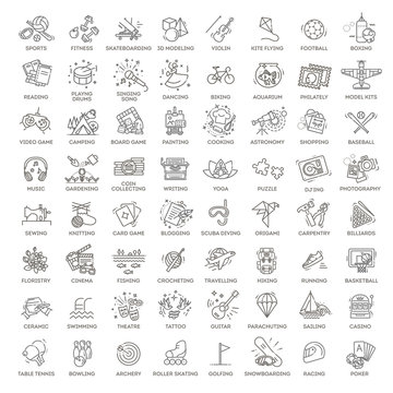 Hobbies and interest detailed line icons set in modern line icon style for ui, ux, web, app design
