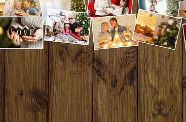 collage of Christmas pictures. photo collage on wooden background