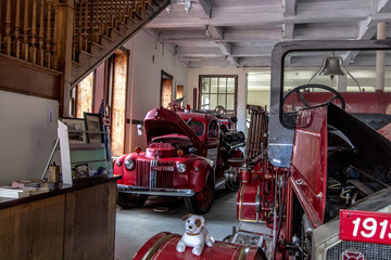 Calumet, Michigan, USA - July 5, 2019: Interior of the Copper Country Firefighters History Museum. The museum is part of the Keweenaw National Park.