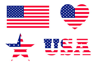 The United States of America flag with official colors. Vector Illustration image. USA National symbol. Grunge style round rubber stamp. Star and heart shape.