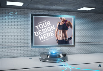 Indoor Billboard in Futuristic Scene Mockup