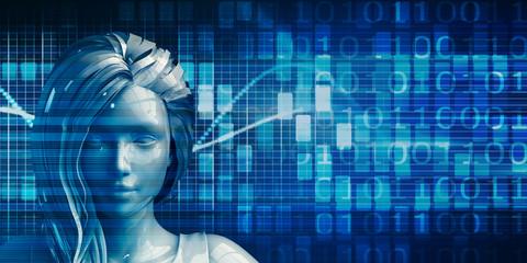 Hispanic Business Woman Using Data Analytics Technology