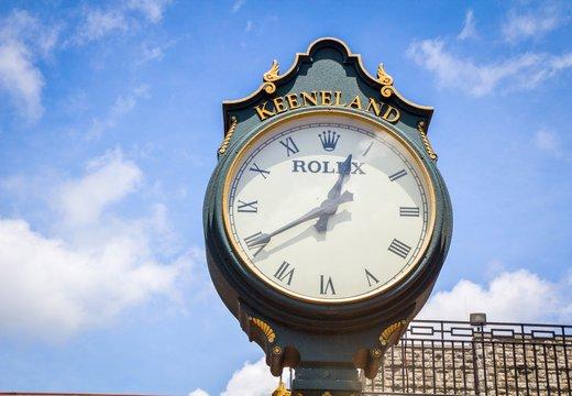 Lexington, Kentucky. USA. June 1, 2015. The famous Rolex clock custom made for Keeneland Racetrack in Kentucky.