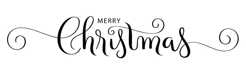 Wall Mural - MERRY CHRISTMAS black vector brush calligraphy banner