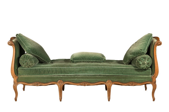 Wooden sofa with green upholstery isolated on white