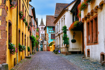 Riquewihr town on the Alsace Wine Route, France