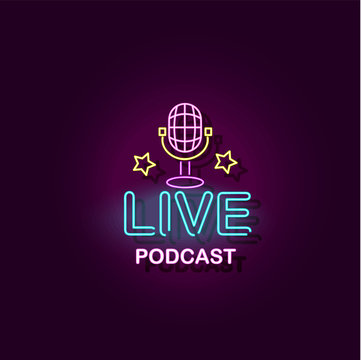 Live podcast banner with microphone vector illustration with neon effect isolated.