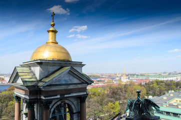 Saint-Petersburg, Russia, May 6, 2015: Panoramic aerial view over St. Petersburg, Russia, from the dome of St. Isaac's Cathedral