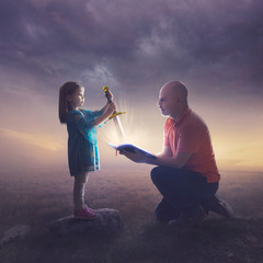 Father and daughter with sword
