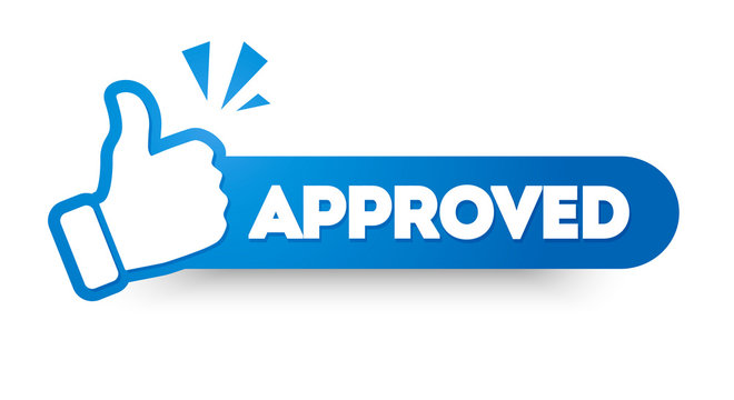 Vector Illustration Approved Label With Thumbs Up. Modern Web Banner Element.
