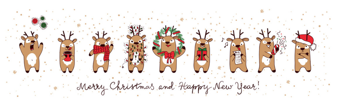 Christmas deers. Merry christmas and Happy New Year, funny holiday banner. Vector illustration.
