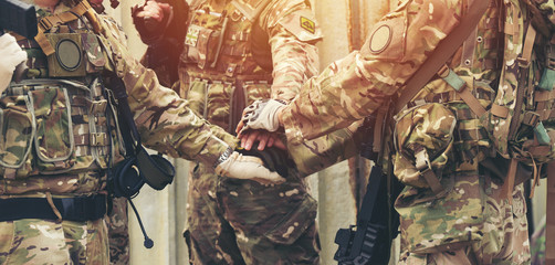 together collaborate of hands teamwork soldier