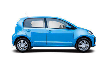 Small hatchback city car side view isolated on white