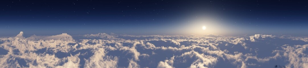 The sun over the clouds, panorama of the clouds, flight over the clouds