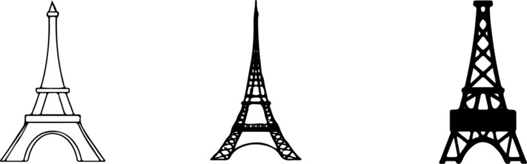 eiffel tower icon isolated on white background Wall mural