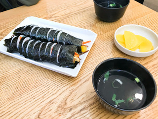 lunch with korean Gimbap in local cafe in Seoul