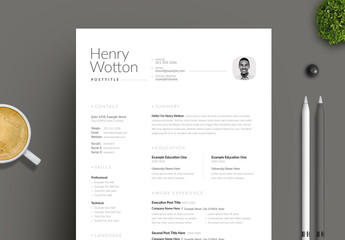 Clean Black and White Resume Layout Set