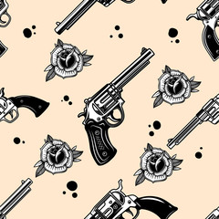 Seamless pattern with revolvers and roses. Design element for poster, card, banner, t shirt.