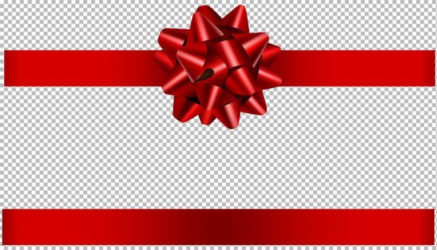 red bow and ribbon illustration for christmas and birthday decorations