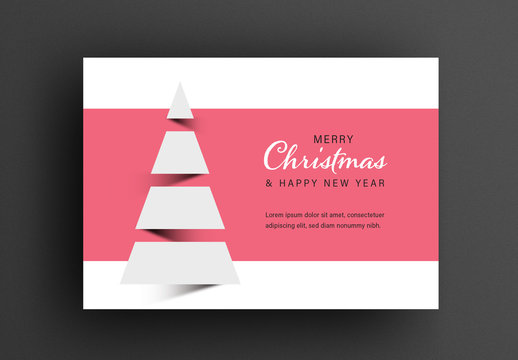 Minimal Christmas Card Layout with Abstract Tree Shape